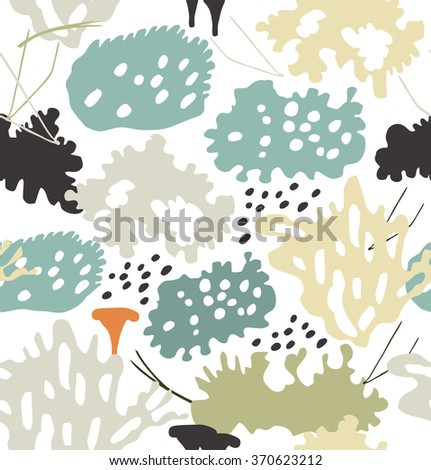 Seamless nordic floral pattern with reindeer moss, gray lichens, needles. Nature drawn background - stock vector