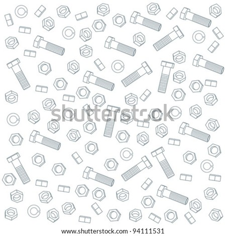 Seamless nuts and bolts - stock vector