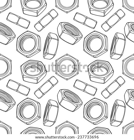 Seamless of hexagon nuts on white background - stock vector