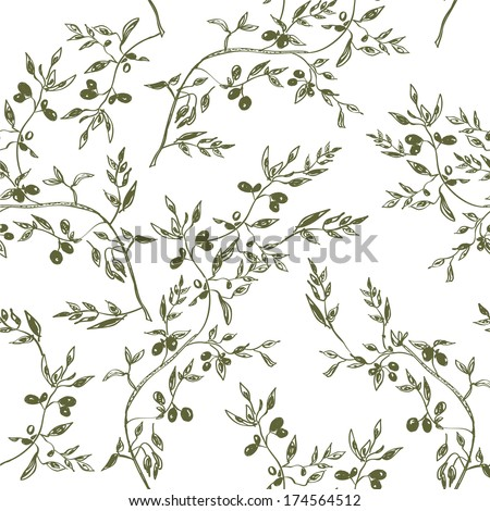 Seamless olive branch pattern hand drawn design - stock vector