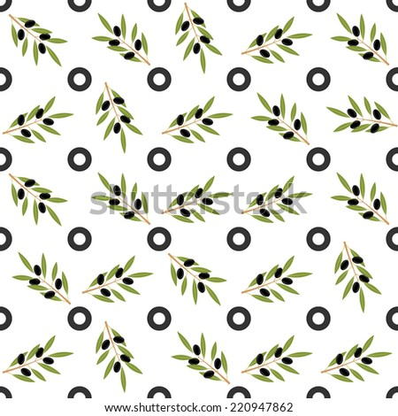 Seamless olive pattern - stock vector