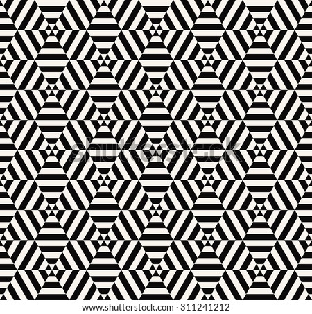 seamless optical illusion black and white hexagon pattern. each color in separate layer - easy to change. - stock vector
