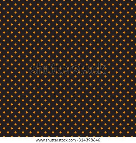 Seamless orange polka dots on black background - stock vector