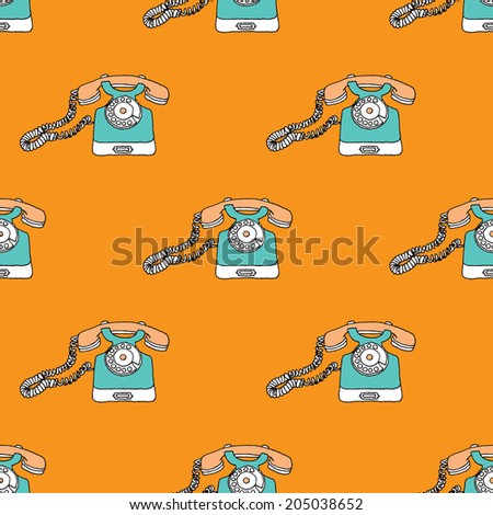 Seamless orange retro hello telephone illustration vintage background pattern in vector  - stock vector