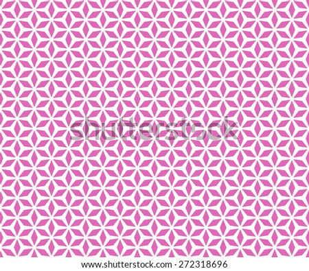 Seamless Oriental Floral Pattern of Six Diamond Petals. Magenta Color. - stock vector