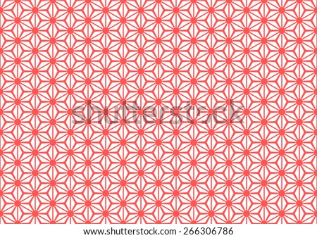 Seamless Oriental Floral Pattern With Large Dot on The Center of Each Grid. Red Color. - stock vector