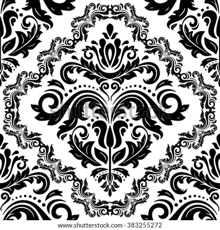 Seamless oriental ornament in the style of baroque. Traditional classic black and white vector pattern - stock vector