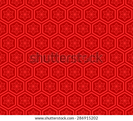 Seamless Oriental Pattern of Line Art of Flowers in Hexagonal Cells. - stock vector