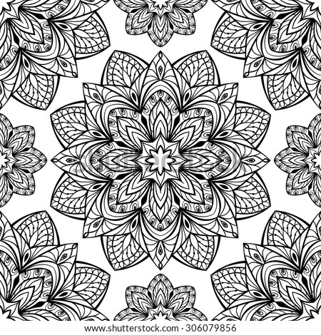 Seamless oriental pattern of round black elements on a white background. Vector pattern of intricate mandalas symmetrically located. Template for textiles. - stock vector