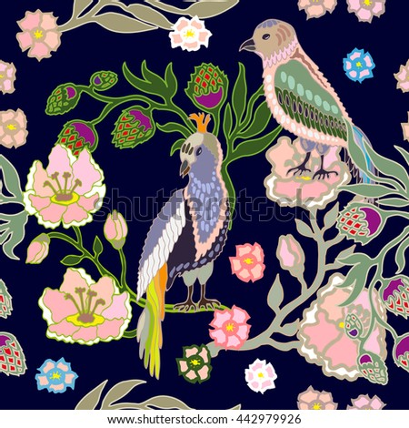 Seamless oriental pattern with flowers and birds. Vintage textile collection. Blue.