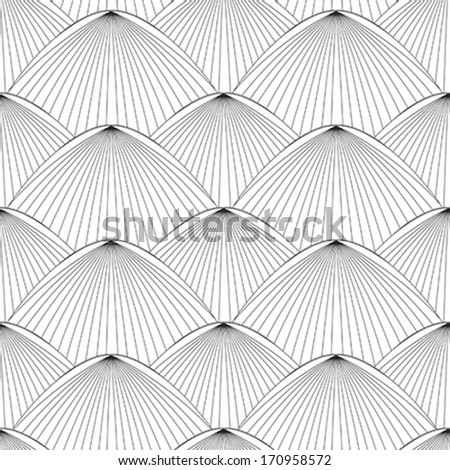 Seamless oriental style pattern in black and white - stock vector