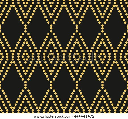 Seamless ornament. Modern stylish geometric pattern with repeating dotted golden wavy lines