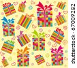 Seamless ornament with bright gift boxes - stock photo