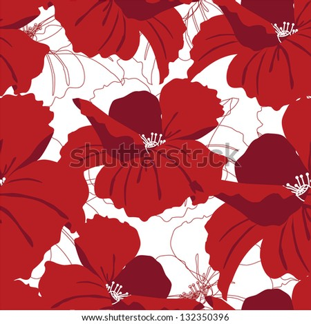Seamless ornament with red poppies on white background - stock vector