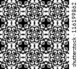 Seamless ornamental abstract retro pattern background black and white vector illustration - stock vector