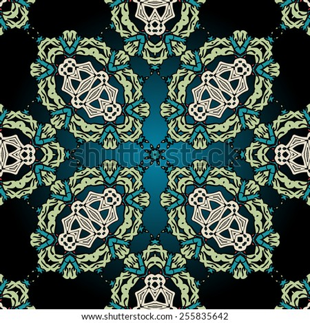 Seamless ornamental kaleidoscopic tile. Green coloured endless wallpaper pattern - stock vector
