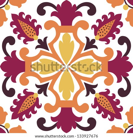 Seamless ornamental tile background vector illustration - stock vector
