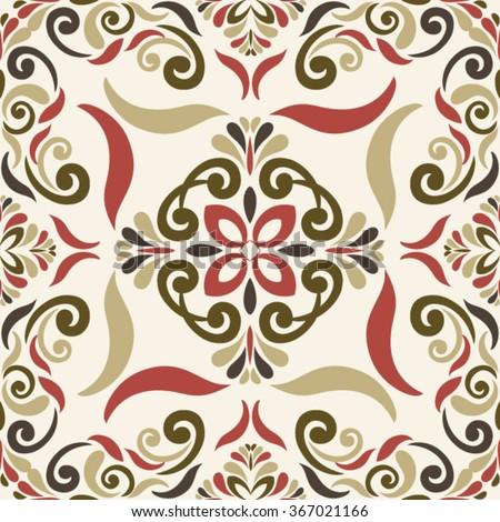 Seamless Ornamental TILE  pattern in marsala-brown-beige colors - like retro tiles - stock vector