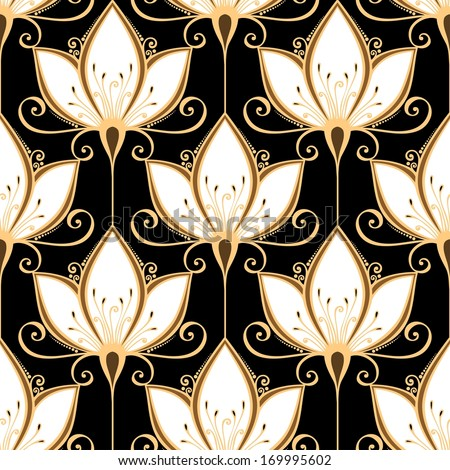 Seamless Ornate Floral Pattern (Vector) - stock vector