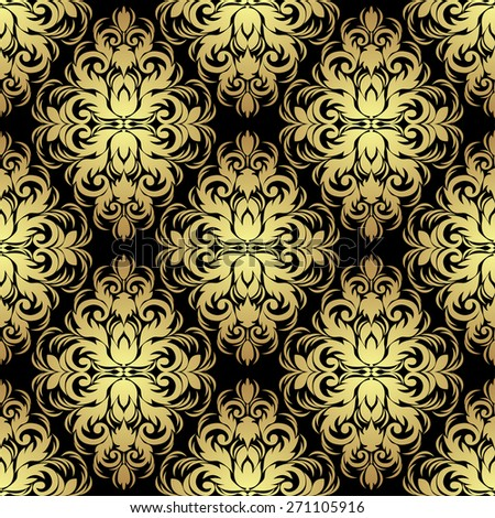 Seamless ornate floral Wallpaper: gold on black. - stock vector