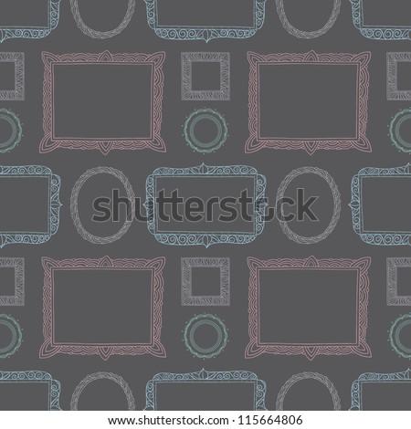 Seamless Ornate hand drawn frames - stock vector