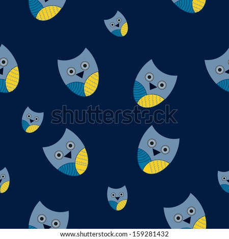 Seamless owl background pattern in vector  - stock vector