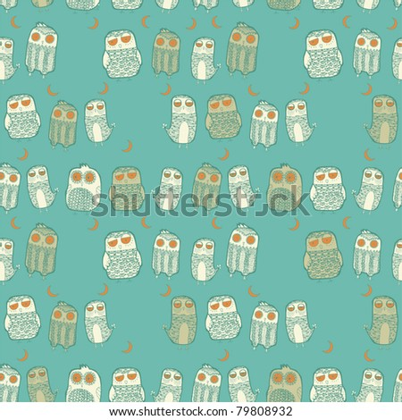 Seamless owl pattern  in vector - stock vector