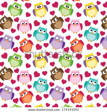 Seamless owl pattern with hearts, on a transparent background - stock vector