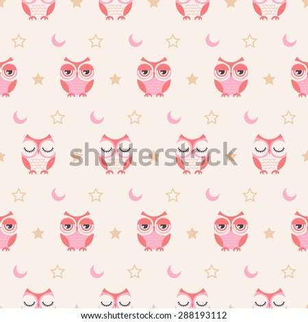 seamless owls pastel color wallpaper background - stock vector