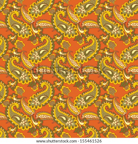 seamless paisley background - stock vector