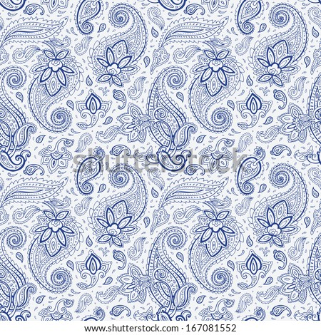 Seamless Paisley background. Elegant Hand Drawn vector pattern. - stock vector