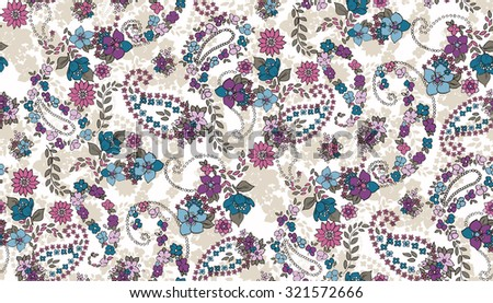 Seamless Paisley background with flower. Elegant Hand Drawn vector pattern. - stock vector