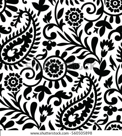 Seamless paisley black and white pattern