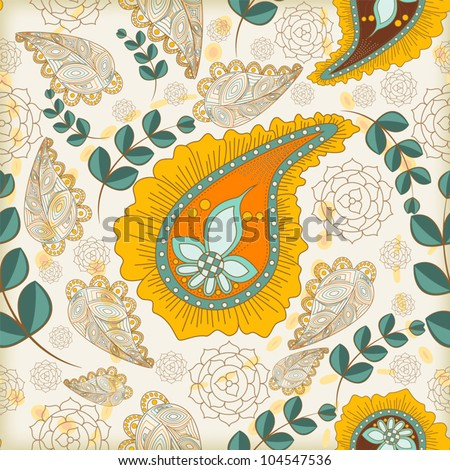 Seamless paisley pattern - stock vector