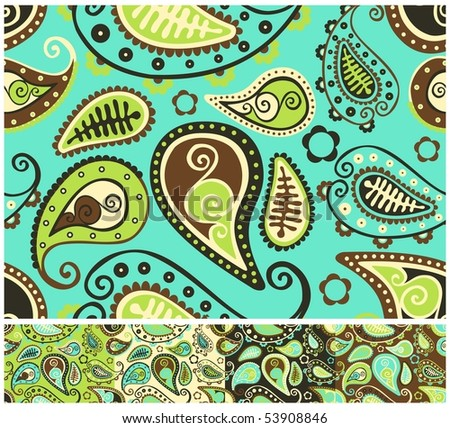 Seamless paisley pattern - different color versions. - stock vector