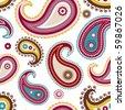 Seamless paisley pattern, vector illustration - stock vector