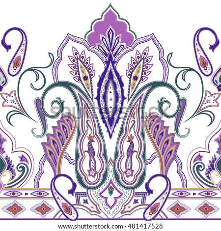 Seamless Paisley Vector Pattern, India Design, Oriental Neck Print, Floral  Chinese Ornament,