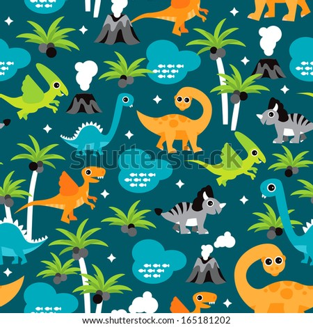 Seamless palm tree dinosaurs animal illustration background pattern in vector  - stock vector