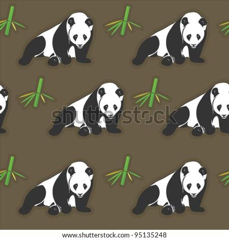Seamless panda and bamboo wallpaper - vector pattern - stock vector