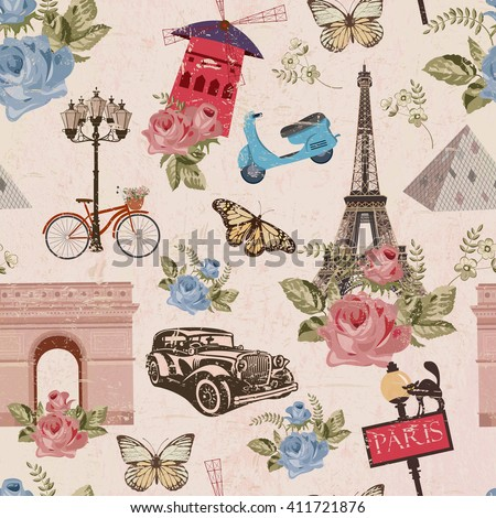Seamless Paris travel wallpaper.Vintage background. - stock vector