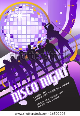 Seamless Party Banner with Disco Ball and Dancing People. Vector Template. For more illustrations VISIT MY GALLERY. - stock vector