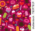 Seamless party candy ice cream and cake background pattern in vector - stock vector