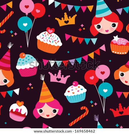 Seamless party princess girl birthday announcement illustration background pattern in vector - stock vector