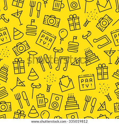 Seamless party  yellow background pattern with many dark outline icons