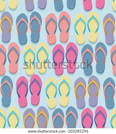 Seamless pastel colorful flip flops pairs pattern, illustration in flat design style