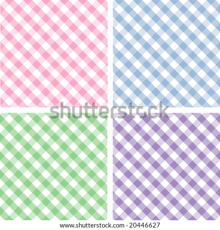 Seamless Pastel Cross weave Gingham Pattern Tiles: pink, blue, green, lavender. EPS8 includes four pattern swatches that will seamlessly fill any shape.