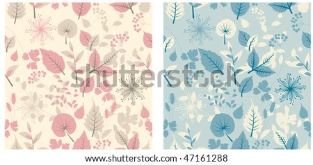Seamless pastel floral pattern. Two variants of color - stock vector