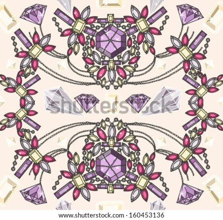 Seamless pastel jewelery necklace kaleidoscope pattern. Background with colorful gemstones and diamonds. - stock vector