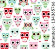 seamless pastel powder color owl background pattern for kids in vector - stock
