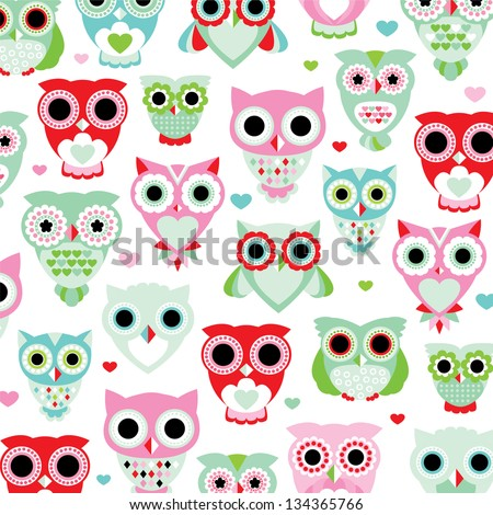 seamless pastel powder color owl background pattern for kids in vector - stock vector